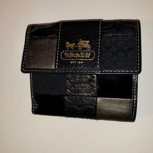 Coach black multi leather wallet